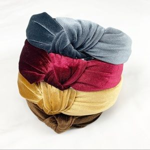 Accessories - Velvet Knotted Headband - Blue Grey